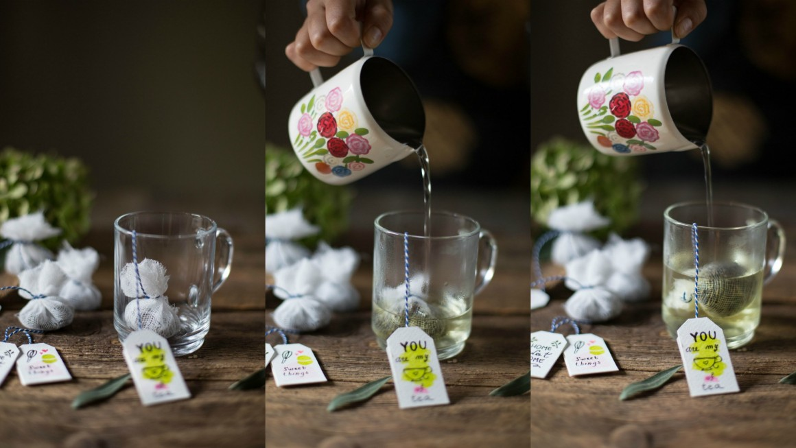 Collage tea bags