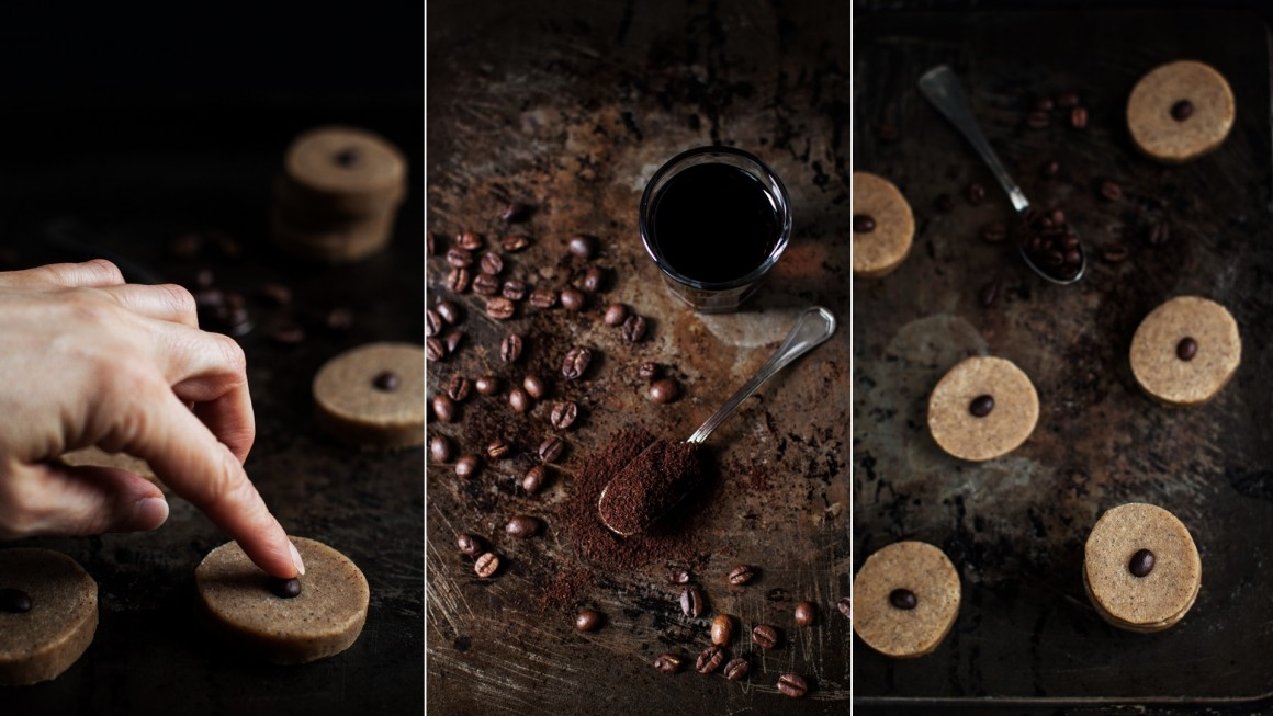walnut coffee cookies collage