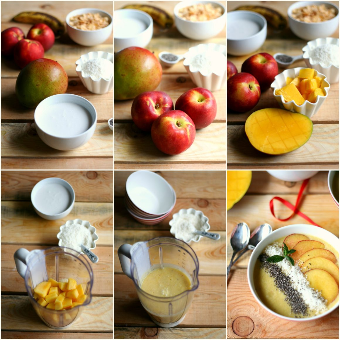 Smoothie bowl con pesche, mango e cocco - step