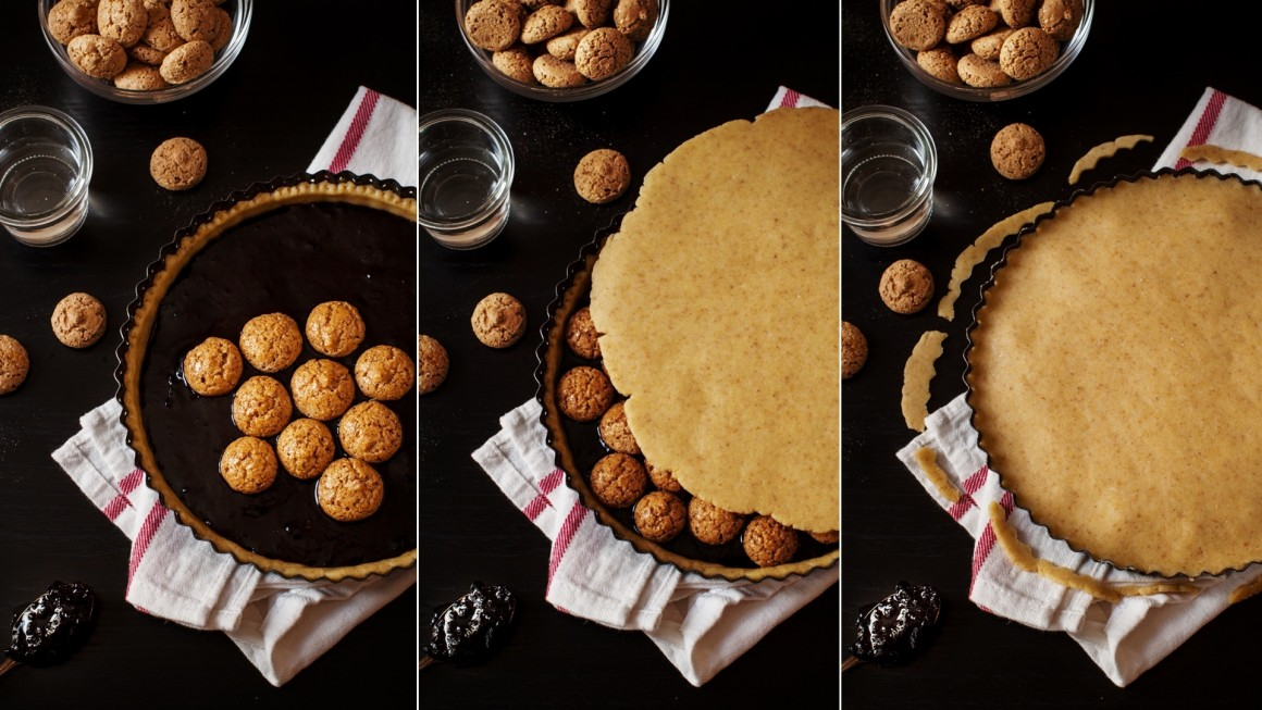 crostata amaretti collage