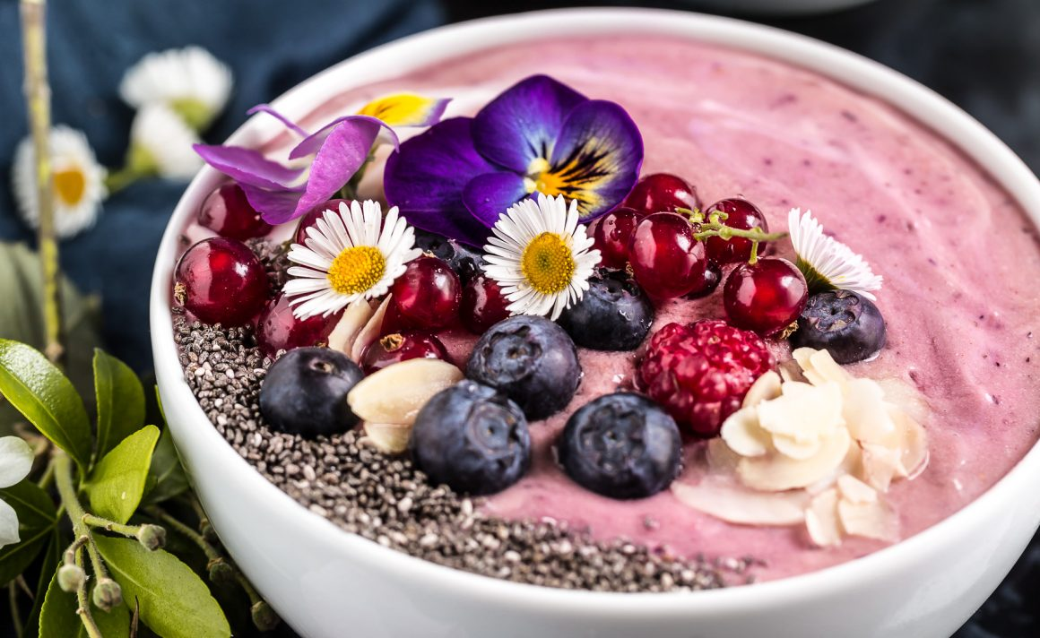smoothie bowl ai lamponi ciotola